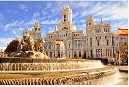 Kit de pintura de diamante de taladro redondo completo 5D Diy, la famosa fuente de Cibeles en Madrid España, dibujos animados lindo sin marco 40x50 cm
