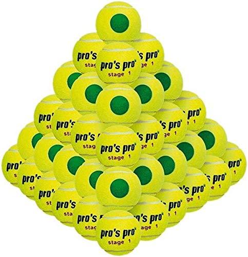 Pros Pro - Stage 1 - Tennisbälle - Trainer Bälle - Traingsball - druckverminderter Ball für Kinder ab 8 Jahren - 60 Stück
