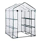Outsunny 5' x 5' x 6' Outdoor Walk-in Greenhouse Garden Hot House with 3-Level Shelving, Roll-Up Door & Weather Cover