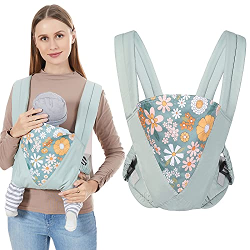 IULONEE Baby Carrier Wrap,Baby Holder Straps Hands Free Ergonomic Baby Wrap Carriers Toddler Carrier Portable Convertible Front and Back Backpack Carry for Newborn Infant 8-44 Pounds (Green)