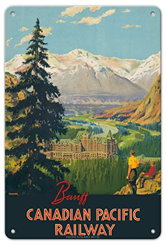 Banff Springs Hotel - Canadian Rockies - Canadian Pacific Railway - Vintage Railroad Travel Poster by Percy Trompf c.1930s - 8in x 12in Vintage Metal Tin Sign