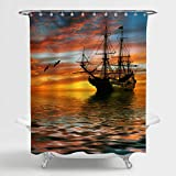 MitoVilla Vintage Sailboat Shower Curtain Set with Hooks, Cruise Ship Sailing in the Ocean with Sunset Following by the Seagull Birds Bathroom Decor, Waterproof Bathroom Accessories, Gold, 72 W x 72 L