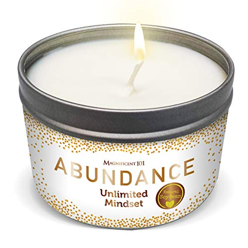 MAGNIFICENT 101 Abundance Aromatherapy Candle for an Unlimited Mindset - Sage, Bergamot, Sandalwood Scented Natural Soybean Wax Tin Candle for Purification and Chakra Healing - Perfect Gift Under $20