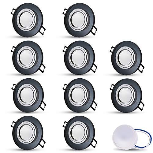 LED Einbaustrahler aus Glas/Spiegel/Schwarz extra-flach CRISTAL Rund Inkl. 10X 5W LED Modul Warmweiss Einbautiefe: 30 mm 230V IP20 Deckenstrahler Einbauleuchte Deckeneinbaustrahler Einbauspot