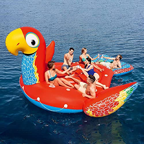 LANGWEI Inflatable Water Float for Adults, Parrot Floating Island Raft Giant Pool Float   Fun Summer Party Decorations Pool Toy Lounge