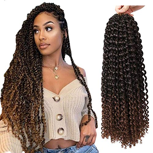 7 Packs Passion Twist Hair 18 Inch Water Wave Synthetic Braids for Passion Twist Crochet Braiding Hair Goddess Locs Long Bohemian Braids Goddess Locs Hair Extensions Ombre Brown (T1B/30)
