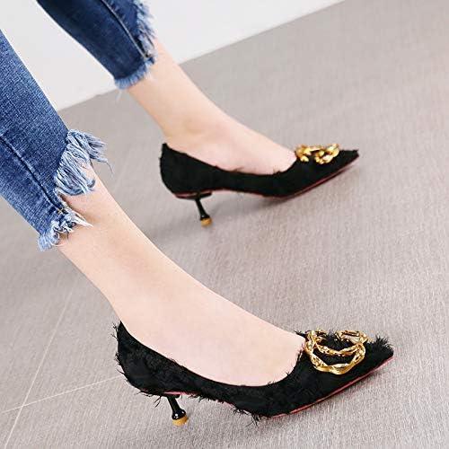 HRCxue zapatos de la Corte Moda Puntiagudos zapatos de tacón Elegante Temperamento Rhinestone Hebilla de Metal zapatos de Aguja púrpura, 38, negro