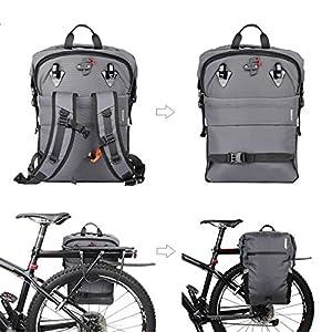 Rhinowalk 24L Bolsa Alforja Trasera para Bicicleta, Multifunción Bolsa Bicicleta para Portaequipajes Asiento Trasero para Carretera MTB Bicicleta de Montaña Moto (Gris)