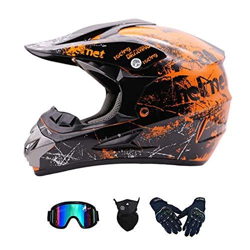 ZHUOYU Motocross Helmet,Downhill Enduro Helmet,MX Helmet,Full Face Helmet,Youth Children Offroad Helmet,MTB Helmet,ATV Helmet,Dot Certification,with Glasses/Gloves/Mask (B, M(54-55 cm))