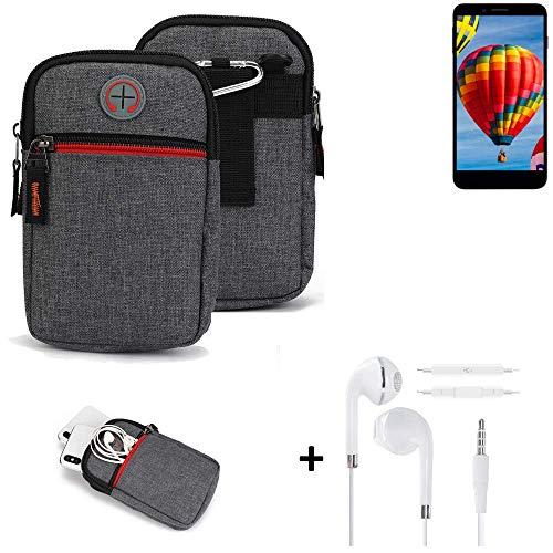 K-S-Trade® Gürtel-Tasche + Kopfhörer Für Vestel V3 5030 Handy-Tasche Holster Schutz-hülle Grau Zusatzfächer 1x