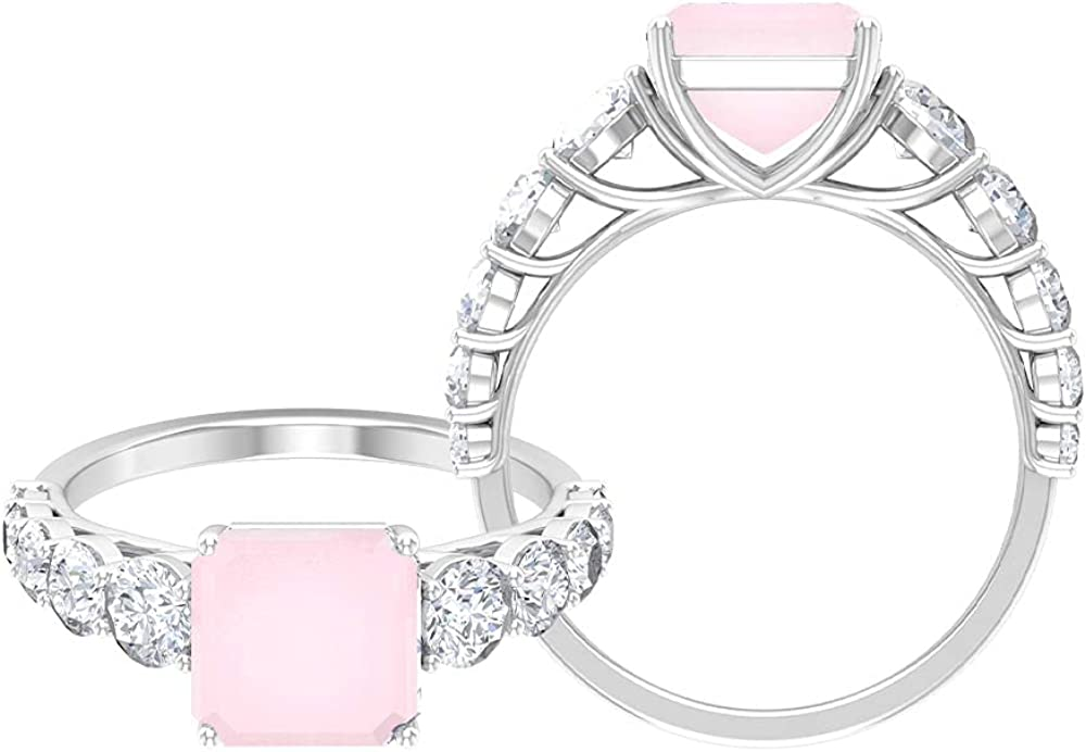 7 CT Spring new work Created Pink Onyx Engagement with Ston Side Moissanite Free Shipping New Ring