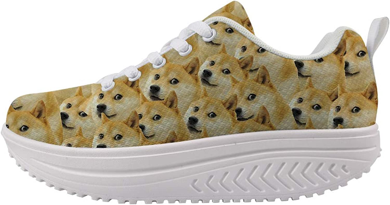 Owaheson Swing Platform Toning Fitness Casual Walking shoes Wedge Sneaker Women Doge Meme Trypophobia
