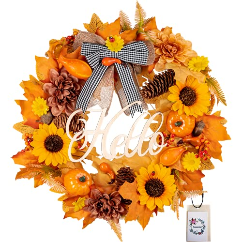 Sunflower Wreath, 18 Inch.  For use indoor or outdoor.