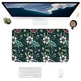 HUBNYO FlowersLeather - Alfombrilla de escritorio de oficina para ratón, superficie lisa, fácil de limpiar, impermeable, protector de escritorio para oficina, juegos en casa