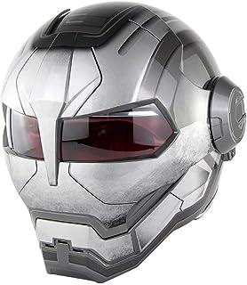 NF Casco abatible para Motocicleta, Casco Full Man Transformers de Iron Man, Casco con