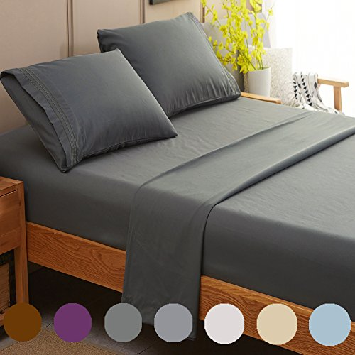 SONORO KATE Bed Sheet Set Super Soft Microfiber 1800 Thread Count Luxury Egyptian Sheets Fit 18  24 Inch Deep Pocket Mattress Wrinkle and Hypoallergenic4 Piece Dark Grey King