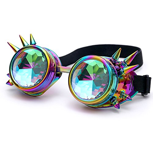 OMG_Shop Chrome Spike Padded Kaleidoscope Effect Goggles Party Glow LED Steampunk (Spikes Colorful)