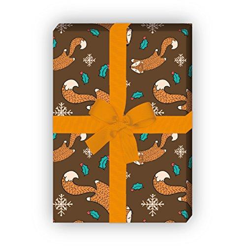 Kartenkaufrausch Zum Fest - Weihnachts Geschenkpapier Set, Dekorpapier mit Fuchs Musterpapier, Designpapier zum Einpacken, basteln, 4 Bögen, 32 x 48cm, auf braun