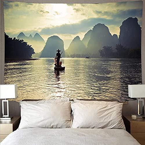 Montaña bosque lago paisaje tapiz arte psicodélico colgante de pared toalla de playa mandala manta fina tela de fondo A5 180x230cm