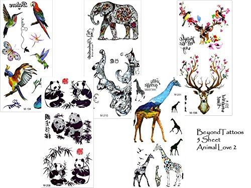 5 vellen dieren tattoos Fake Tattoos Animal Love Set 2 olifant Panda hert vogels giraffe tattoo