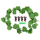 Doitool 12 Piezas de Hojas de UVA Artificiales Enredaderas Hojas de Plantas Colgantes Guirnalda Flores de Simulación Guirnalda de Vid para La Habitación del Hogar Jardín Guirnalda de Boda