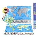82 x 59 cm Scratch Off World Map Poster mit Landmarken und L/änderflaggen