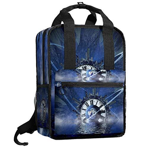 AITAI - Mochila de reloj azul para adolescentes, universidad, bolsa de viaje