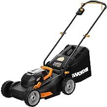 "WORX 40V Power Share 4.0 Ah 17"" Lawn Mower Bare Tool, Black and Orange"