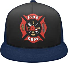 Mesh Breathable Hip Hop Cap Firefighter Emblem,Fire Rescue,Fire Department DEPT Campaign Adjustable Snapback Hat Trucker Hats