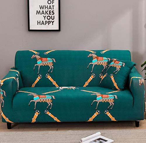 Fundas SofáPatrón De Caballo Verde Fundas Sofa Elasticas,Funda de Sofa Chaise Longue,Moderna Cubre Sofa,La Funda para Sofa Jacquard de Poliéster (235-310cm)