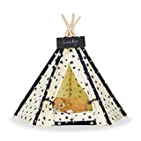 Zaihe Pet Teepee Dog & Cat Bed - Portable Dog Tents & Pet Houses with Cushion & Blackboard, 24 Inch, Up to 15lbs, Stars Pattern