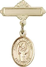 14kt Gold Filled Baby Badge with St. Stanislaus Charm and Polished Badge Pin St. Stanislaus is the Patron Saint of Broken Bones 1 X 5/8