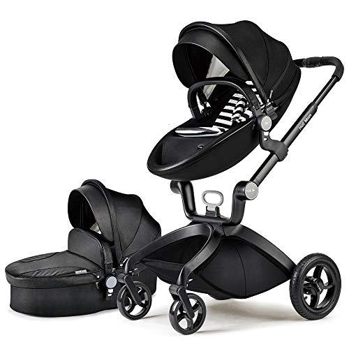 Hot Mom Cochecito de Bebe 2017 Multifuncional Sistemas de viaje, buenos amortiguadores, asiento regulable en altura, reversible,color Negro, Asiento para bebé vendido por separado