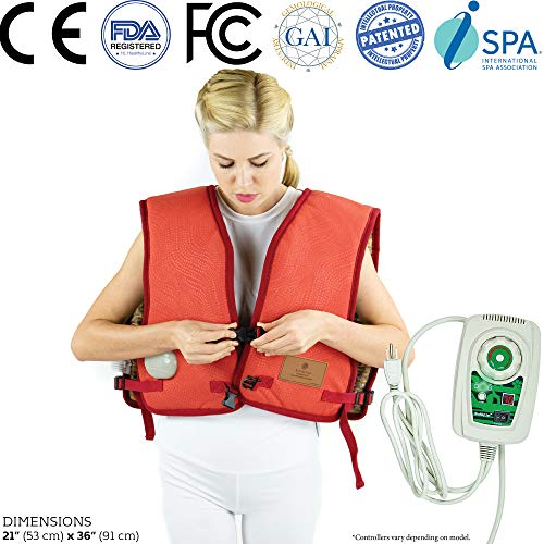 HealthyLine Healing Vest Adjustable Heating Pads with 5 lb. of Pure Amethyst Gemstones, Negative Ion Far Infrared Therapy for Back Pain, Chest, Sore Muscles and Cell Stimulation, US/ FDA Registered