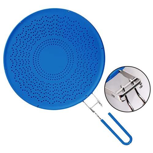 Premium Silikon Spritzschutz mit klappbarem Griff, hitzebeständige Pfannen-Abdeckung/Sieb, schützt die Haut vor Verbrennungen – Spritzschutz zum Kochen und Braten 29,5 cm blau