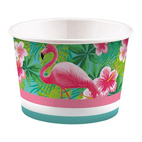 Amscan 9903330 - Eisbecher Flamingo Paradise, 8 Stück, 270 ml, Pappbecher, Einwegbecher