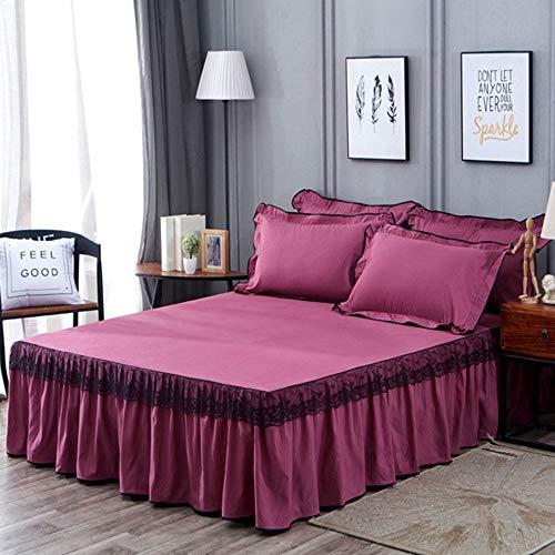Bettrock Tagesdecke Rüschen Bett Rock, Bett Volant Tagesdecke Mit Rüschen Faltenresistent Und Ausbleichen Beständig,Purple-150x200cm