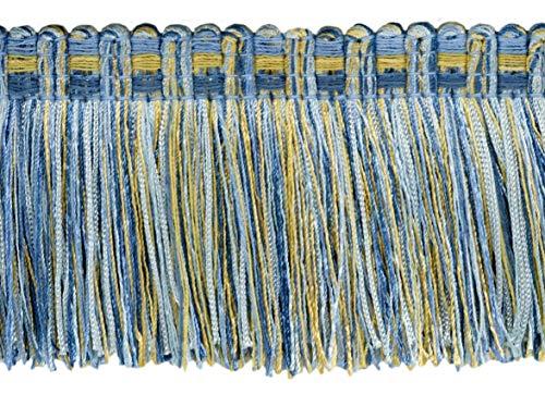 16.5 Meter Package of Veranda Collection 76mm Brush Fringe Trim|Champaigne Gold, Cadet Blue, French Blue|Style#: 0300VB|Color: Light Blue, Gold - VNT13 (54 Ft / 18 Yards)