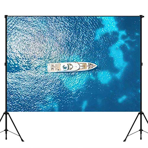 Aoyuntu 10x10ft Yacht Photography Backdrop Background Drone Shot of Balearic Islands Ocean Landscape Party Backdrop Cloth Newborn Baby Shower Birthday Photo Studio Prop