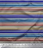Soimoi Blau Seide Stoff horizontal Streifen Stoff Meterware
