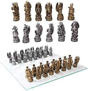 Ebros Mythical Fantasy Dragon Dungeon Kingdoms Resin Chess Pieces with Glass Board Set