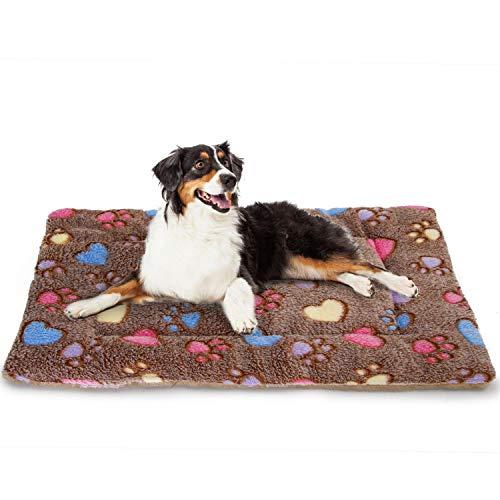 Nobleza Cama para Perros, colchoneta para Mascotas, Pata pequeña impresión paño Grueso y Suave Manta Suave Estera del Animal doméstico, Lavable (M,Felpa marrón)