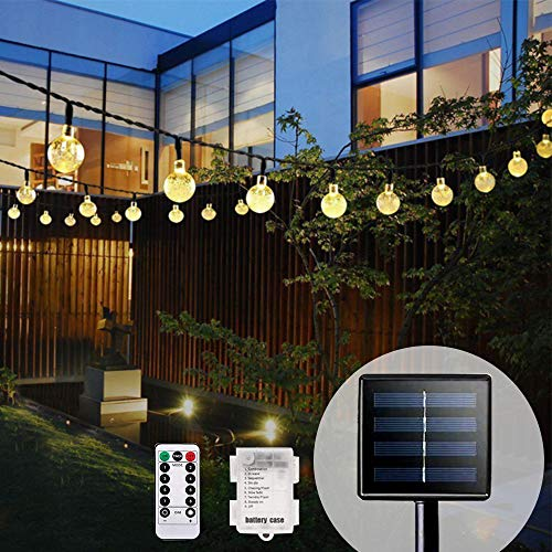 Bteng 60 LED Solar Lights Outdoor Garden & Battery [2in1], 36ft Solar String Lights Waterproof Crystal Ball Solar Powered Decorative Fairy Lighting for Xmas, Patio, Yard, Home, Christmas, Parties