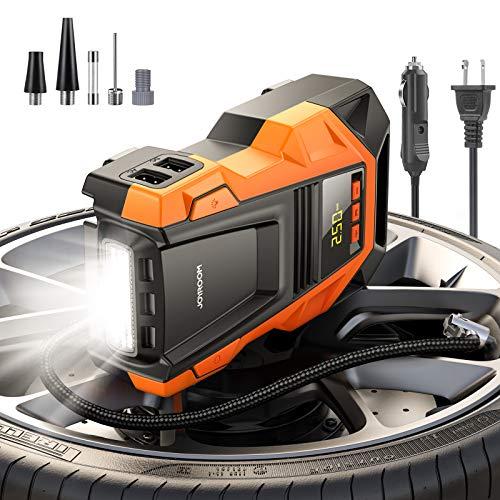 Joyroom AC 110V / DC 12V Car Air Compressor Tire Inflator, Portable Air Pump, with Digital Pressure Gauge, Emergency Led Light, for Home and Car Tires, Auto, Motorcycle, Bike, Ball (Black) …