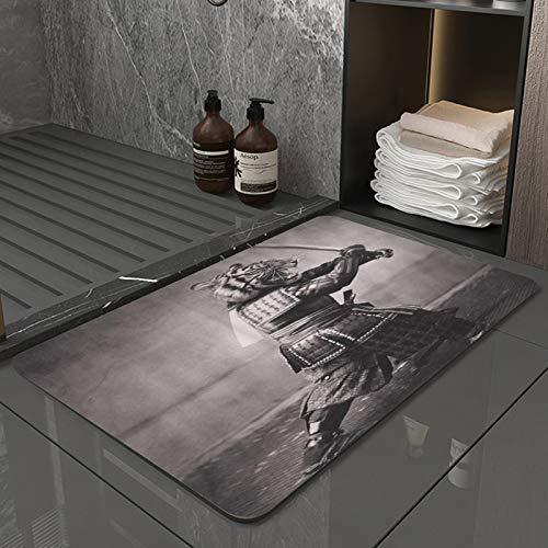 La Alfombra de baño es Suave y cómoda, Absorbente, Antideslizante,Arte Digital fotográfico Fresco de la Espada del Samurai del Tigre,Apto para baño, Cocina, Dormitorio (50x80 cm)