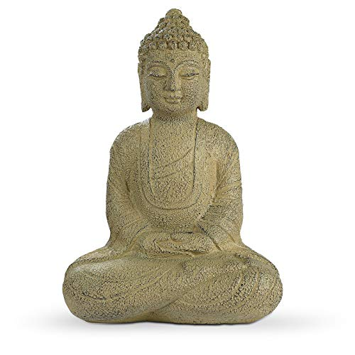 Meditating Buddha Statue, Zen Buddha Figurine in Earth Yellow Finish, Buddha Sculpture for Home & Garden Decorations (14' H)