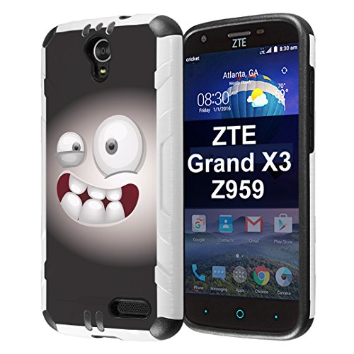 Capsule Case Compatible with ZTE Grand X3, ZTE ZMAX Grand, ZTE ZMAX Champ, ZTE ZMAX 3, AVID 916, ZTE Warp 7 [Slim Dual Layer Combat Case White and Black] - (Smiley Monster)