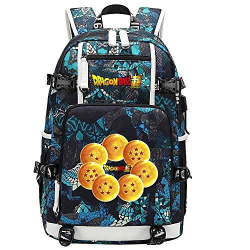 ZZGOO-LL Dragon Ball Son Goku/Vegeta IV/Torankusu Anime Backpacks Student School Bag Laptop Backpack with USB Charging Port-E