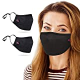 Copper Infused Face Mask With Extra Filter Pocket Protection Layer - Reusable, Washable, 3D Fit for Women (2-Pack, Black Pink, Medium)
