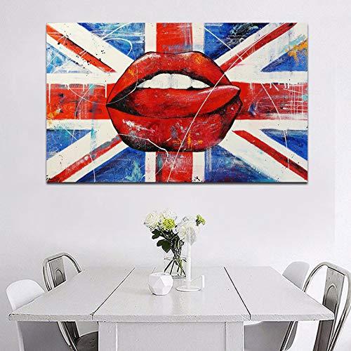 hetingyue Wandkunst HD größere Größe schöne Lippen drucken und Poster abstrakte Leinwand Malerei Wohnzimmer Schlafzimmer Wanddekoration rahmenlose Malerei 60x100cm